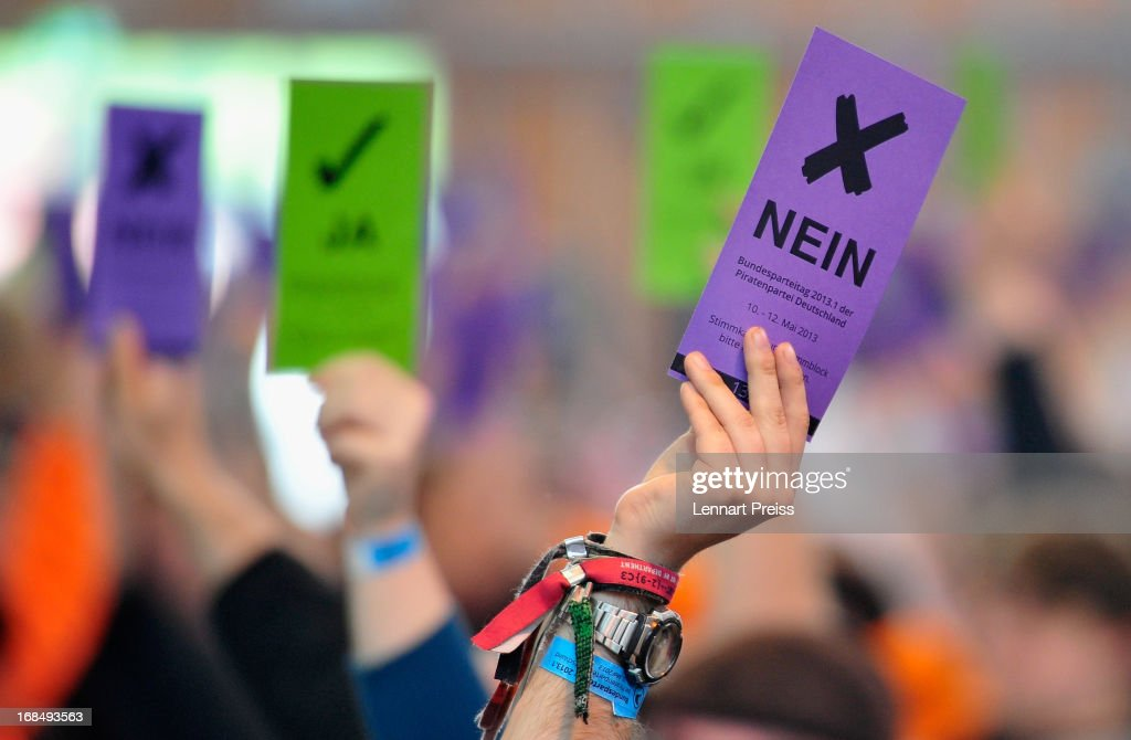 Delegates of the German Pirates Party (Die Piraten) vote during their federal congress on May 10, 2013 in Neumarkt, Germany. The Pirates rode a wave of popularity driven by voter discontent with Germany's established political parties that won the Pirates seats in several state parliaments. More recently, however, the Pirates have faltered, as political infighting, leadership changes and an unclear political message have contributed to a loss of support. Germany faces federal elections in September and at current polls the Pirates would fail to pass the 5% hurdle necessary to gain seats in the Bundestag.