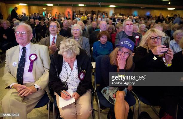 Delegates of UK Independence Party react during the announcement of Anne Marie Waters losing against Henry Bolton on the leadership bid during the...