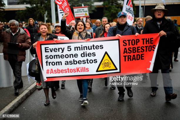 Delegates of union hold a demonstration for the inclusion of chrysotile a mineral also known as white asbestos which health experts say causes cancer...