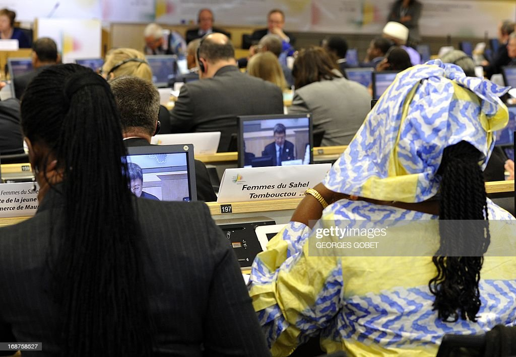Delegates participate at the Donor Conference for development in Mali on May 15, 2013 at the EU Headquarters in Brussels. The EU and France will gather international donors to drum up aid and support for Mali as it seeks to move on from a war against hardline Islamists and end a two-year old political crisis. The conference will be attended by French President Francois Hollande, his Malian counterpart Dioncounda Traore, European Commission chief Jose Manuel Barroso and heads of state from several west African countries.