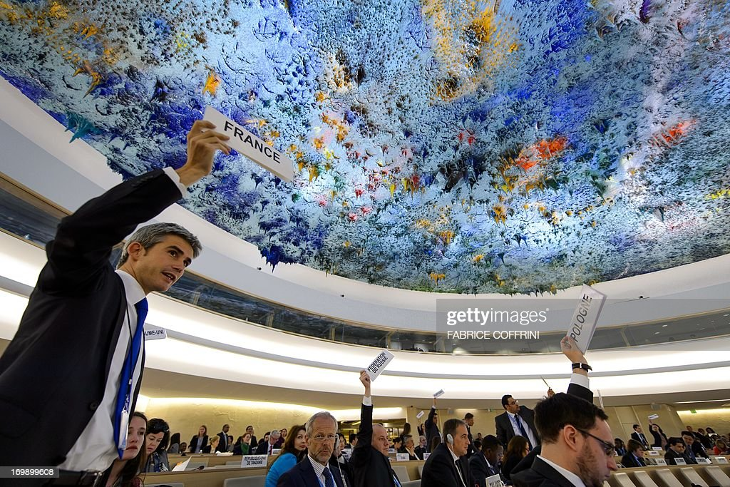 Delegates raise placards requesting the floor for their delegation after the report of the United Nations Independent Commission of Inquiry (CoI) on Syria on June 4, 2013, ahead of the UN Human Rights Council in Geneva. UN investigators said on June 4 they had 'reasonable grounds' to believe chemical weapons have been used by both sides in Syria, and warned that crimes against humanity are now occurring daily in the war-torn country. AFP PHOTO / FABRICE COFFRINI