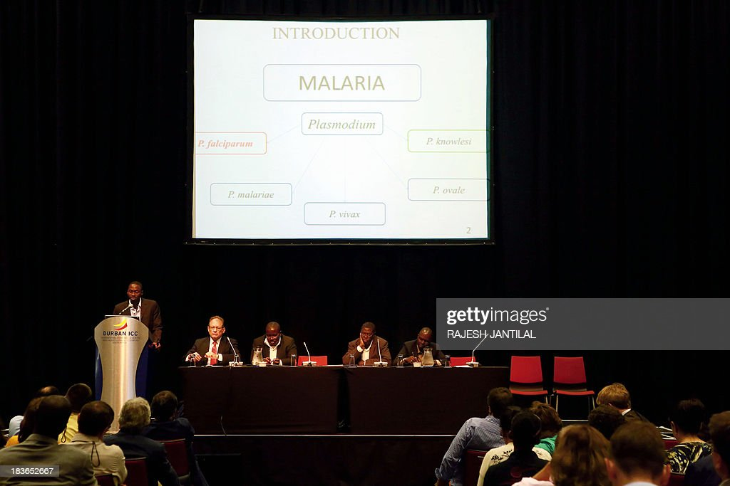 Delegates, researchers and scientists discuss the status of malaria vaccine research during the 6th MIM Pan-African Malaria Conference held at the International Convention Centre in Durban on October 8, 2013. The theme of the conference is 'Moving Towards Malaria Elimination: Investing in Research And Control'. The conference ends on October 11, 2013.