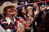Delegates take part in the convention openings on the second day of the Republican National Convention on July 19 2016 at the Quicken Loans Arena in...