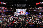 Delegates take the floor before the start of the first day of the Republican National Convention on July 18 2016 at the Quicken Loans Arena in...