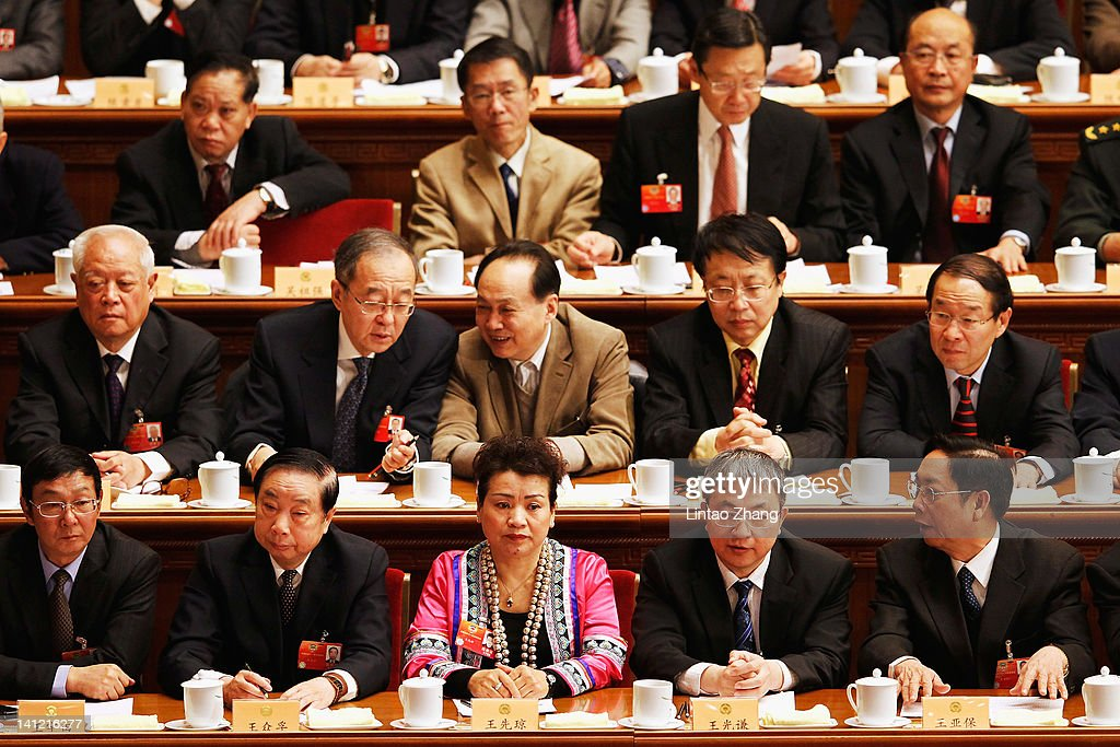 Delegates take their seats for the closing session of the National Committee of the Chinese People's Political Consultative Conference (CPPCC) at the Great Hall of the People on March 13, 2012 in Beijing, China. Known as 'liang hui,' or 'two organizations', it consists of meetings of China's legislature, the National People's Congress (NPC), and its advisory auxiliary, the Chinese People's Political Consultative Conference (CPPCC).