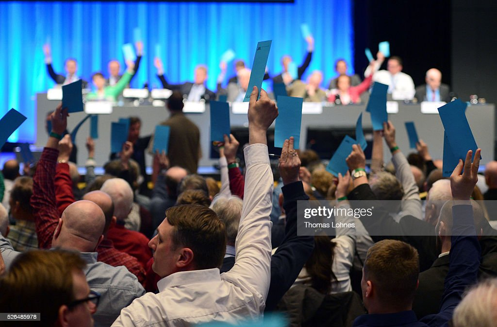 Delegates vote at the Alternative for Germany (AfD) federal congress on April 30, 2016 in Stuttgart, Germany. The AfD, a relative newcomer to the German political landscape, has emerged from Euro-sceptic conservatism towards a more right-wing leaning appeal based in large part on opposition to Germany's generous refugees and migrants policy. Since winning seats in March elections in three German state parliaments the party has sharpened its tone, calling for a ban on minarets and claiming that Islam does not belong in Germany.