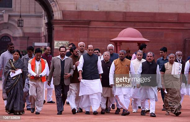BJP delegation led by Rajnath Singh coming out from the President House after meeting President Pratibha Patil against the procedure charged by UP...
