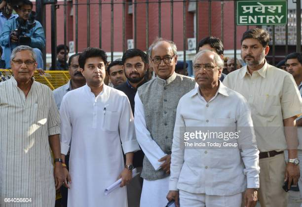 A delegation of Congress leaderscomprising Mohan Prakash Digvijaya Singh Jyotiraditya Scindia met Election Commission officials expressing concern...