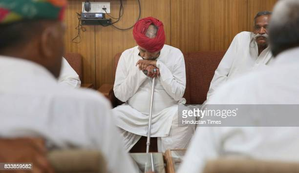 A delegation of Gujjar leaders led by Col Kirori Singh Bainsla wait for government ministers before the meeting over the issue of Gurjar Reservation...