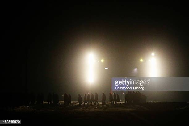 Delegations make their way to lay candles at Birkenau Memorial during the commemoration of the 70th anniversary of the liberation of Auschwitz...