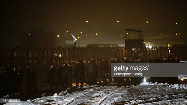 Delegations make their way to lay candles at the Birkenau Memorial during the commemoration of the 70th anniversary of the liberation of Auschwitz...