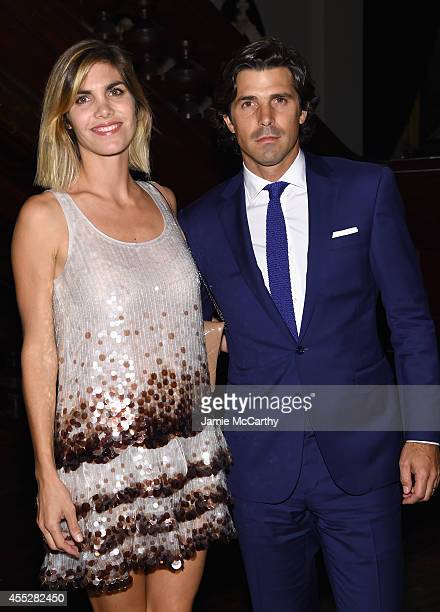 Delfina Blaquier and Nacho Figueras backstage at the Marc Jacobs fashion show during MercedesBenz Fashion Week Spring 2015 at Park Avenue Armory on...