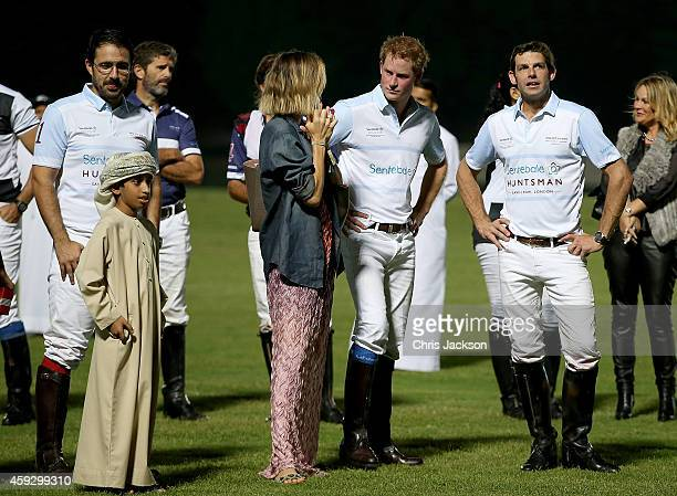 Delfina Blaquier Prince Harry and Malcolm Borwick during the prizegiving of the Sentebale Polo Cup presented by Royal Salute World Polo at Ghantoot...