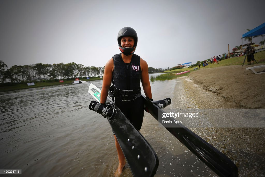 Delfina Cuglievan of Peru during the Final Water Skiing Open Ladies Jump event as part of the XVII Bolivarian Games Trujillo 2013 at Laguna de Bujama on November 17, 2013 in Lima, Peru.