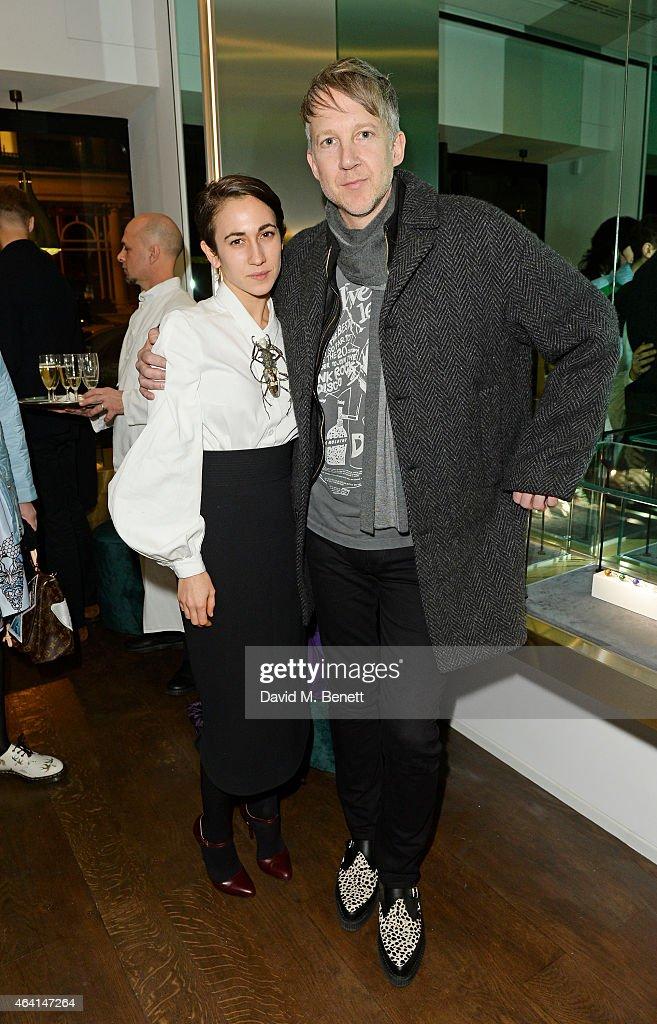 Delfina Delettrez and Jefferson Hack attend the Delfina Delettrez London Boutique Opening during London Fashion Week Fall/Winter 2015/16 on February...