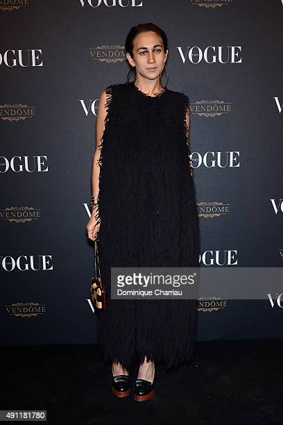 Delfina Delettrez attends the Vogue 95th Anniversary Party Photocall as part of the Paris Fashion Week Womenswear Spring/Summer 2016 on October 3...