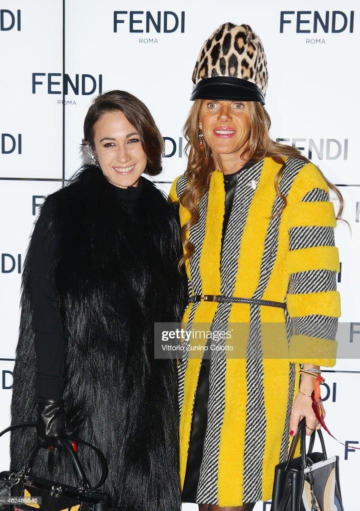 Delfina Delettrez Fendi and Anna Dello Russo attend the Fendi show as a part of Milan Fashion Week Menswear Autumn/Winter 2014 on January 13 2014 in...