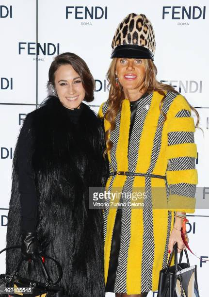 Delfina Delettrez Fendi and Anna Dello Russo attend the Fendi show as a part of Milan Fashion Week Menswear Autumn/Winter 2014 on January 13 2014 in...