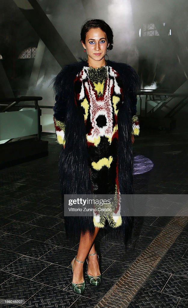 Delfina Delettrez Fendi attends Kenzo fashion show as part of Pitti Immagine Uomo 83 at Mercato Centrale on January 10 2013 in Florence Italy