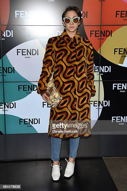 Delfina Delettrez Fendi attends the Fendi show during the Milan Fashion Week Autumn/Winter 2015 on February 26 2015 in Milan Italy