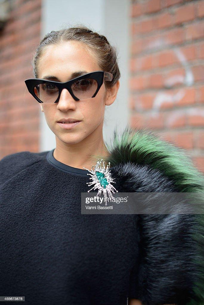 Delfina Delettrez Fendi poses in a Fendi total look and Miu Miu shades on September 18 2014 in Milan Italy
