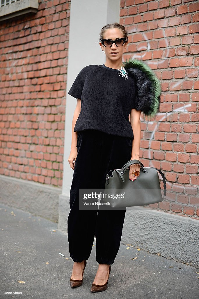 Delfina Delettrez Fendi poses in a Fendi total look on September 18 2014 in Milan Italy