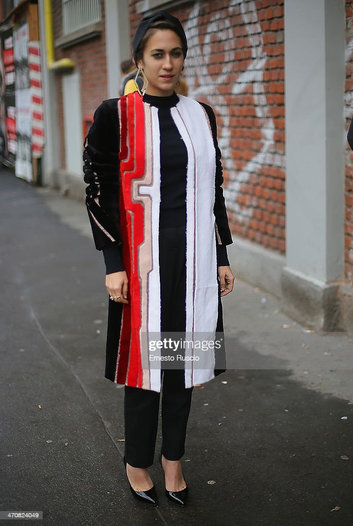 Delfina Fendi Delettrez is seen outside the Fendi Fashion Show on day 2 of Milan Fashion Week Womenswear Autumn/Winter 2014 on February 20, 2014 in Milan, Italy.