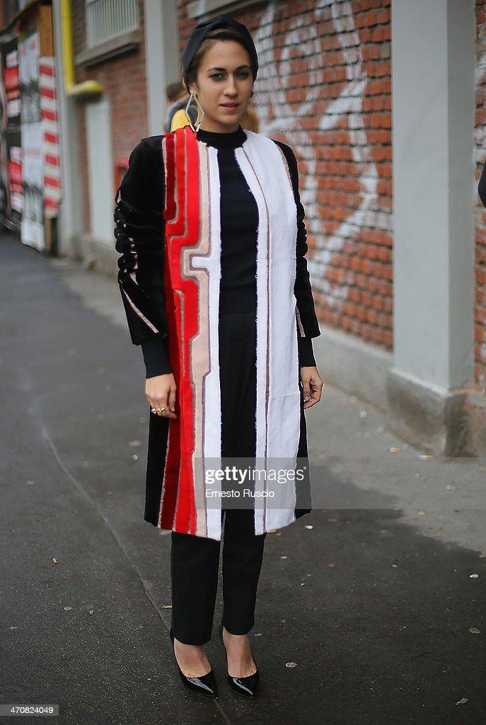Delfina Fendi Delettrez is seen outside the Fendi Fashion Show on day 2 of Milan Fashion Week Womenswear Autumn/Winter 2014 on February 20 2014 in...