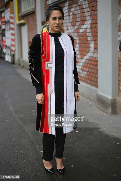 Delfina Fendi Delettrez is seen outside the Fendi Fashion Show on day 2 of Milan Fashion Week Womenswear Autumn/Winter 2014 on February 20 2014 in...