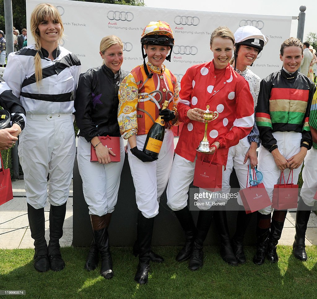 Delfina Figueras Laura Bechtolsheimer Kate Reardon Edie Campbell Sara Cox and Francesca Cumani pose in the Winners Circle during Ladies Day at...