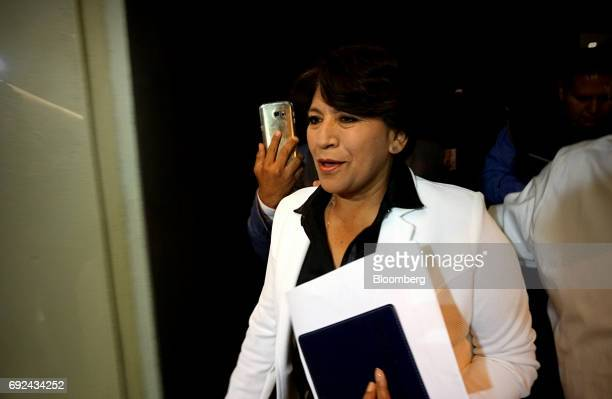 Delfina Gomez National Regeneration Movement candidate for governor of the State of Mexico arrives at a press conference in Toluca Mexico State...