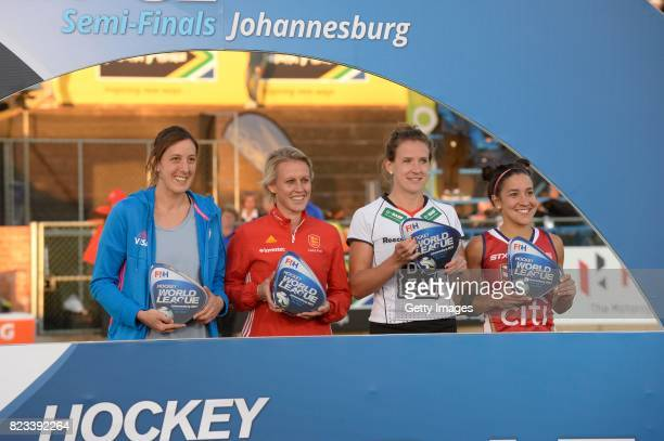 Delfina Merino of Argentina Alex Danson of England Jana Teschke of Germany and Melissa Gonzalez of United States of America during day 9 of the FIH...