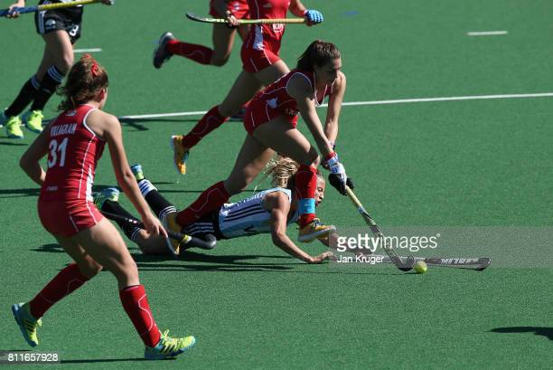 Delfina Merino of Argentina and Camila Caram of Chile battle for possession during day 2 of the FIH Hockey World League Semi Finals Pool B match...