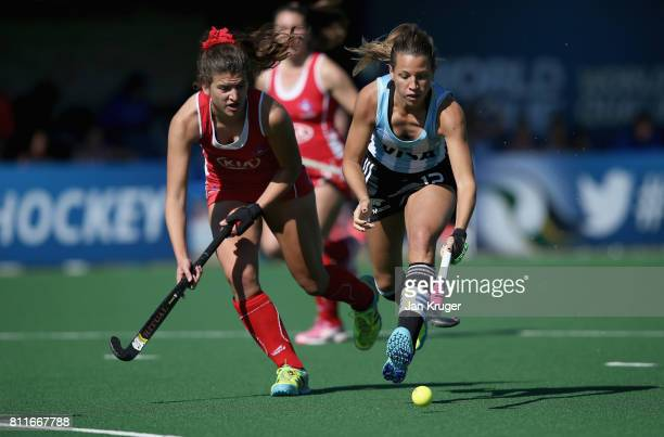 Delfina Merino of Argentina and Fernanda Villagran of Chile battle for possession during day 2 of the FIH Hockey World League Semi Finals Pool B...