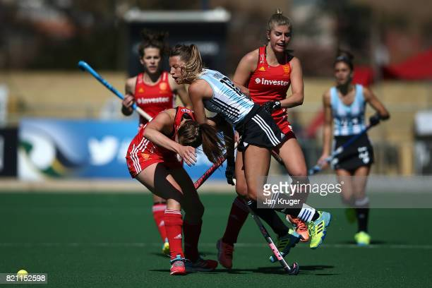 Delfina Merino of Argentina crashes into Giselle Ansley of England during day 9 of the FIH Hockey World League Women's Semi Finals 3rd/ 4t place...