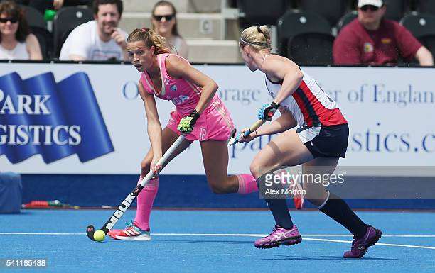 Delfina Merino of Argentina during the FIH Women's Hockey Champions Trophy match between USA and Argentina at Queen Elizabeth Olympic Park on June 19...