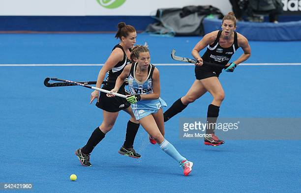 Delfina Merino of Argentina during the FIH Women's Hockey Champions Trophy match between Argentina and New Zealand at Queen Elizabeth Olympic Park on...