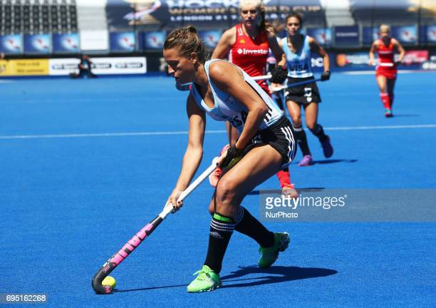 Delfina Merino of Argentina during the Investec International match between England Women and Argentina Women at The Lee Valley Hockey and Tennis...