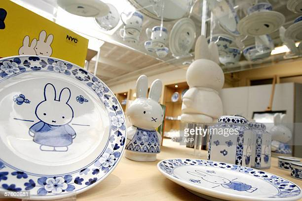 TO GO WITH AFP STORY 'NetherlandstourismartLifestyle' Miffy styled earthenware in delft blue style on display at a shop in the Koninklijke Porceleyne...
