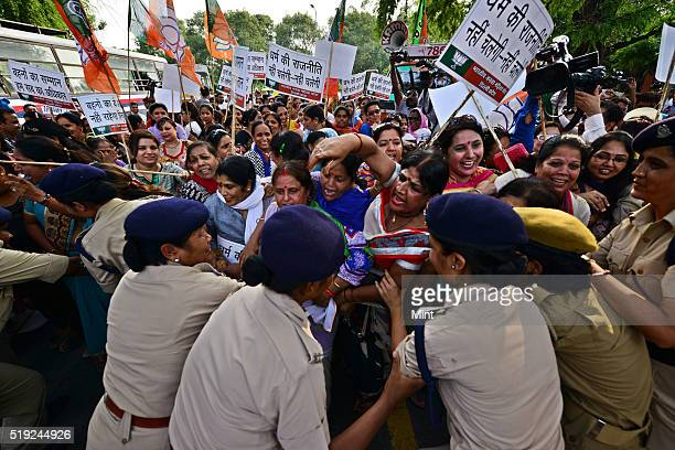 Delhi BJP Mahila Morcha demonstration at congress office 24 akbar road against raksha bandhan remark by Ghulam Nabi Azad on June 29 2015 in New Delhi...
