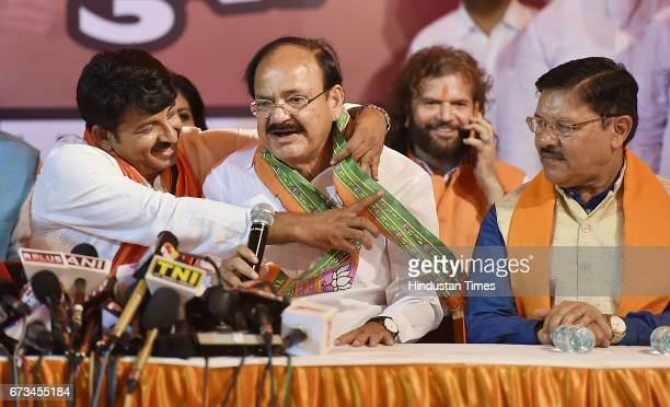 Delhi BJP President Manoj Tiwari along with Venkaiah Naidu during a press conference at Delhi BJP Office after party's victory in MCD elections on...