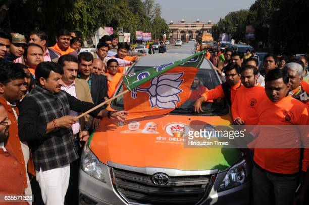 Delhi BJP President Manoj Tiwari during the Delhi Yuva Khel Mahotsav organised by Delhi BJP flags off with a Rath Yatra to 280 municipal wards 70...