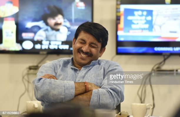 Delhi BJP President Manoj Tiwari in relax during an exclusive interview with Hindustan Times at his official residence on the eve of MCD election on...