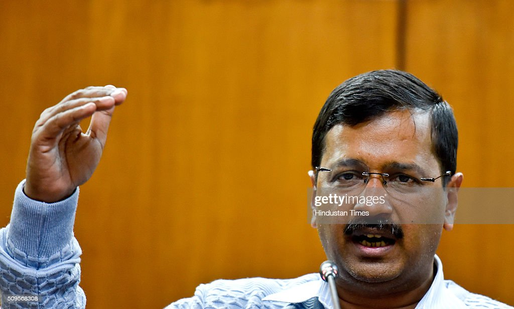 Delhi Chief Minister Arvind Kejriwal addressing the press conference to announce the commencement date of Second Phase of Odd Even Scheme at Vidhan Shabha on February 11, 2016 in New Delhi, India. The second phase of the odd-even road rationing scheme to reduce the Capitals notorious air pollution and traffic snarls will be conducted for a fortnight from April 15.