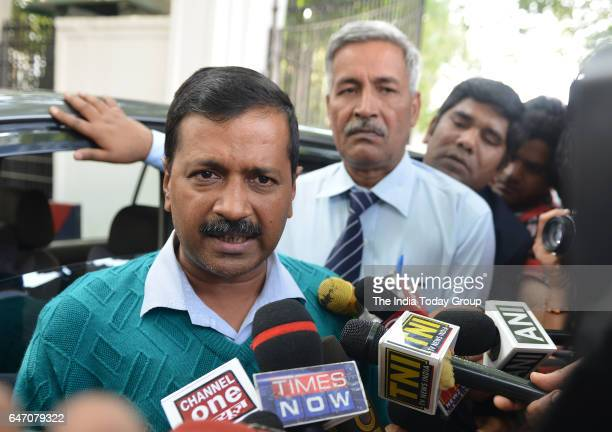 Delhi Chief Minister Arvind Kejriwal after a meeting with Lt Governor Anil Baijal over Ramjas violence ruckus in New Delhi