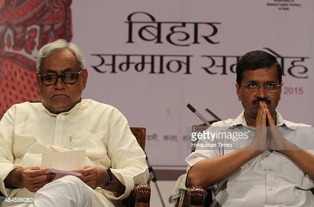 Delhi Chief Minister Arvind Kejriwal and Bihar Chief Minister Nitish Kumar during Bihar Samman Samaroh at Mavalankar Hall function organised by Delhi...