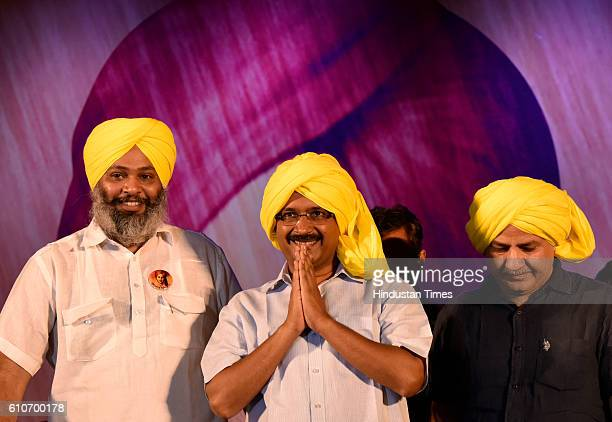 Delhi Chief Minister Arvind Kejriwal and Deputy Chief Minister Manish Sisodia during a function to felicitate the families of freedom fighters on...