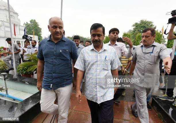 Delhi Chief Minister Arvind Kejriwal and Deputy Chief Minister Manish Sisodia arrive for attending the special GST Delhi Assembly Session on May 31...