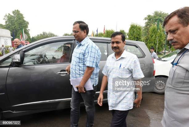 Delhi Chief Minister Arvind Kejriwal and Health Minister Satyendra Jain arrive for attending the special GST Delhi Assembly Session on May 31 2017 in...