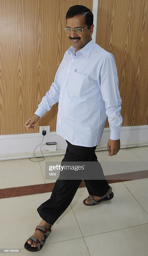 Delhi Chief Minister <a gi-track='captionPersonalityLinkClicked' href=/galleries/search?phrase=Arvind+Kejriwal&family=editorial&specificpeople=5980396 ng-click='$event.stopPropagation()'>Arvind Kejriwal</a> arrives for the Registration Ceremony of Airtel Half Marathon at his residence on August 25, 2015 in New Delhi, India.
